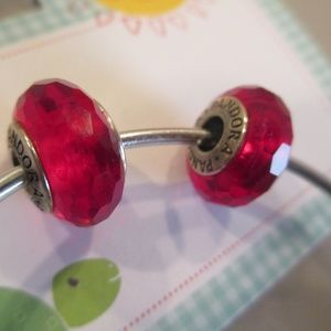 set 2 Pandora Red Faceted Murano Glass Charm